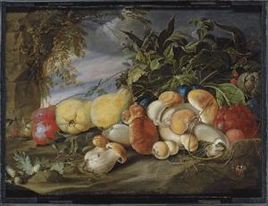 Stilleven van vruchten en paddestoelen in een landschap