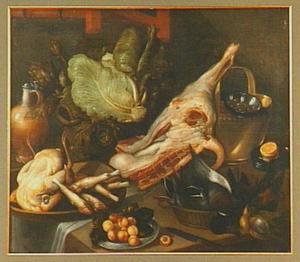 Stilleven van een half geslacht varken, groente, gevogelte en vaatwerk