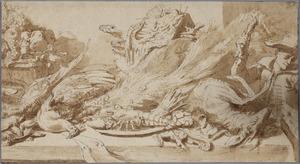Stilleven met wild, vis en fruit op een tafel, met rechts een jongen die een hond plaagd