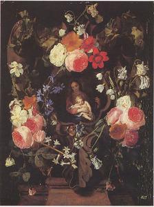 Gebeeldhouwde cartouche met de Maagd Maria en het Christuskind, omgeven door bloemen