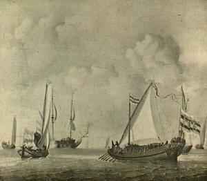 Stadsjacht van de stad Amsterdam, boeierjacht en andere vaartuigen bij een kalme bries