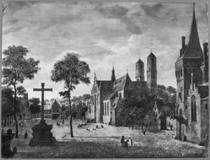 Gezicht in Keulen met de torens van de St. Pantaleon en een vrije versie van het schip van de  Martinikerk in Emmerik