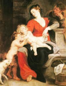 De Heilige familie met Johannes de Doper als kind met de rieten mand