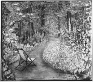 Boslandschap met wandelpad en klapstoel