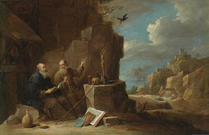 Heiligen Antonius Abt en Paulus van Thebe in een rotslandschap, ruïnes van een kasteel op de hevels in de achtergrond