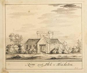 kasteel Heukelum na de verwoesting in 1672 met daarvoor het restant van de voorburcht, vanuit het zuidwesten