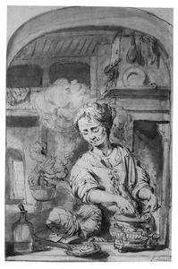 Twee vrouwen en een jongen in een keuken