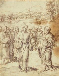 Christus overhandigt Petrus de sleutels (Mattheus 16:19)