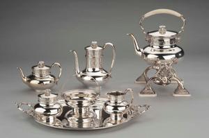 Koffie- en theeservies op blad, model 'Grieks'