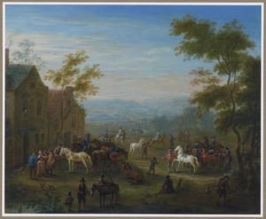 Paardenmarkt in een dorp