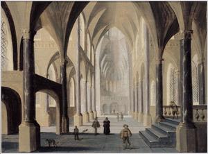 Interieur van een gotische kerk met figuren