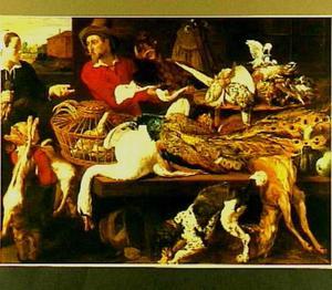 Keuken met een jager achter een tafel met dood wild, die een wildzwijnskop toont aan een vrouw met een partij vogels en een jongentje met twee hazen