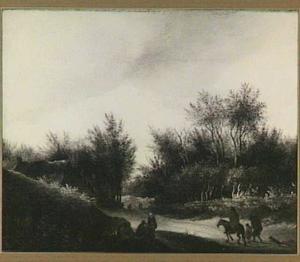 Bebost heuvellandschap met een ruiter en andere figuren