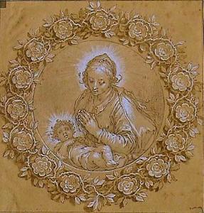 Maria met Kind in een rozenkrans