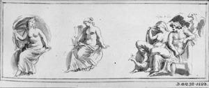 Jupiter en Juno en twee klassieke vrouwenfiguren