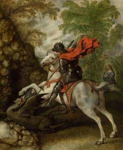 Sint Jorisbestrijdt de draak om de prinses te bevrijden