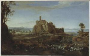 Gezicht op Acquapendente buiten Rome