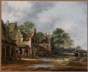 Dorpsstraat met figuren bij een herberg