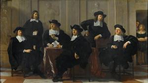 Regenten van het Spinhuis en Nieuwe Werkhuis, met een bediende, Amsterdam, 1669