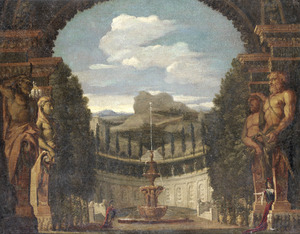 Julius Caesar en Cleopatra in de tuin van een Egyptisch paleis