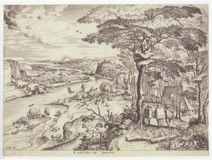 Landschap met Christus op de weg naar Emmaus