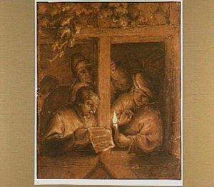 Drie declamerende rederijkers in een open raam