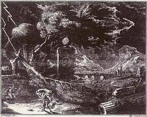 Landschap bij onweer