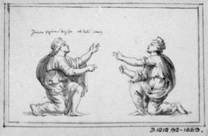 Twee knielende figuren