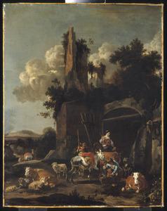 Zuidelijk landschap met herders bij de ingang van een herberg onder een ruïne
