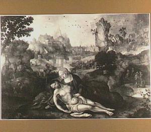Pietà. In de achtergrond het verraad van Judas, de kruisdraging en de kruisiging