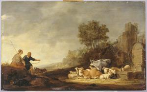Landschap met herderspaar en vee bij een fontein