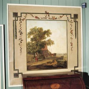 Door ornamenten omgeven Hollands landschap