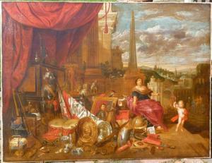 Stilleven met een harnas, vaandel, wapens en kunstvoorwerpen op een bordes, op de achtergrond een stad