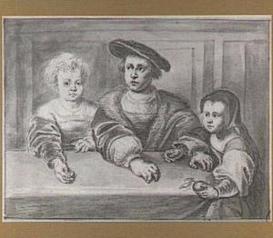 Portret van de drie kinderen van koning Christiaan II van Denemarken