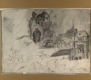 Studieblad met een dorp, een fantasiegebouw en figuren