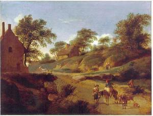 Boeren op een landweg bij boerderijen
