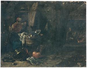 Boereninterieur met een vrouw met een bezem en een man bij het vuur