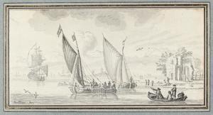 Zeilboten voor de kust met een ruïne