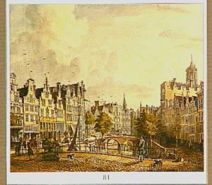 De Oudegracht in Utrecht naar het stadhuis toe gezien, rechts de Domtoren