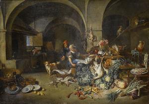 Keukeninterieur met een man en een keukenmeid temidden van groenten, vis en jachtbuit