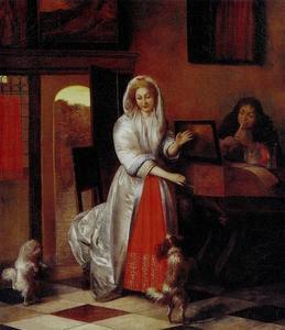 Jong musicerend paar met twee dansende hondjes in een interieur