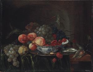 Stilleven met Wan Li-kom met vruchten en oesters