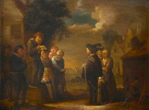 Twee zangers met toehoorders in een dorp; allegorie op het Gehoor