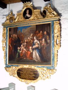 Laat de kinderen tot mij komen (Matthëus 19:13-15); Portrait Historié van Christiana Wolff (1682-1708) en haar familie