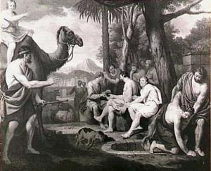 Jozef wordt uit de put getrokken en door zijn broers als slaaf naar Egypte verkocht (Genesis 37:28)