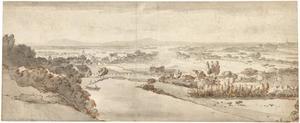 Gezicht op de Rijnvallei, gezien vanaf Kleef in de richting van Emmerik