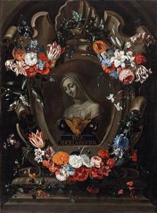 Bloemen-cartouchestilleven rond een buste van Maria