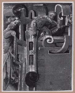 Deel van cartouche met twee figuren