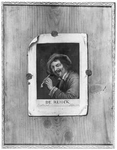Trompe l'oeil met een prent op een plank: De Reuk