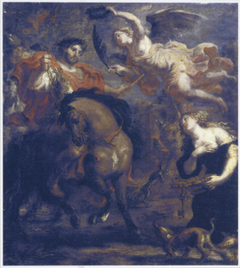 Zenobia, koningin van Palmyra geeft de stad over aan keizer Aurelianus